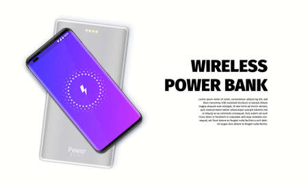 Smartphone is charging by wireless power bank. Devices isolated on white background. Vector illustration. 向量圖像
