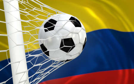 Colombia flag and soccer ball, football in goal net