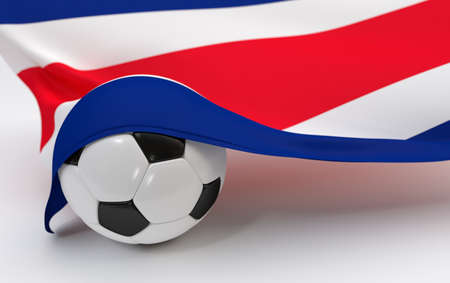 costa rica flag: Costa Rica flag and soccer ball on white backgrounds