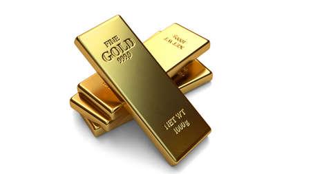money vault: Gold bars, ingot on white backgrounds