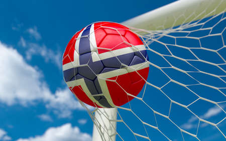 Norway flag and football in goal net photo