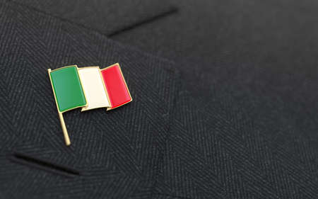 Italy flag lapel pin on the collar of a business suit jacket shows patriotism photo