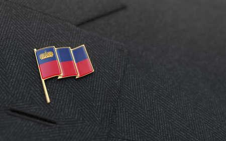 lapel: Liechtenstein flag lapel pin on the collar of a business suit jacket