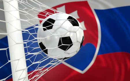 Slovakia flag and football in goal net