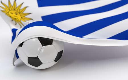 bandera de uruguay: Bandera de Uruguay y bal�n de f�tbol sobre fondos blancos