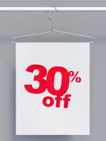 clothes rail: Wire hanger on clothes rail and banner with sale sign Stock Photo