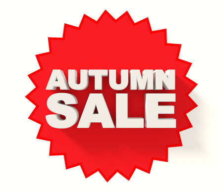 sale sign: Autumn sale sign, white letters on red star background
