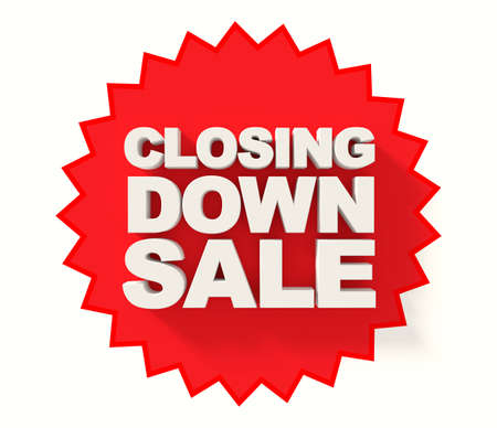 sale sign: Closing down sale sign, white letters on red star background Stock Photo