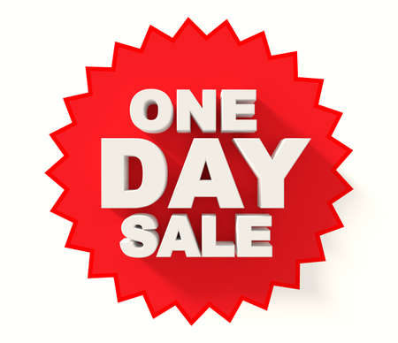 sale sign: One day sale sign white, letters on red star background
