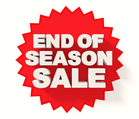 sale sign: End of season sale sign, white letters on red star background Stock Photo