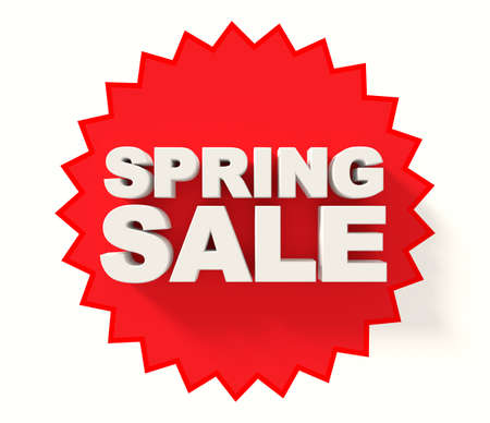 sale sign: Spring sale sign, white letters on red star background