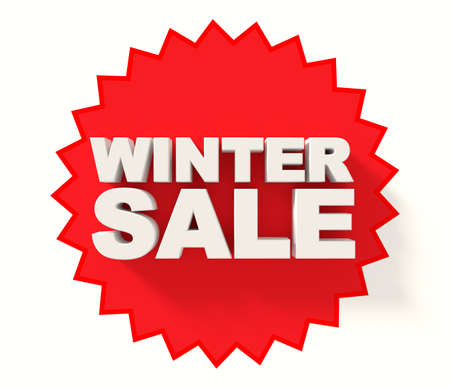 sale sign: Winter sale sign, white letters on red star background