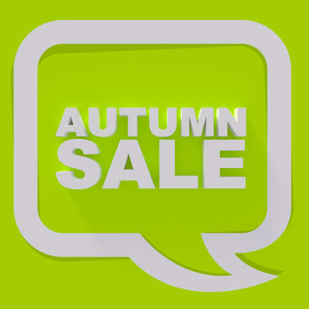 sale sign: Autumn sale sign, white letters on green background