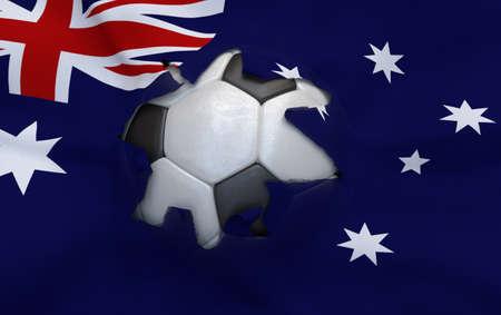 multi national: Flag of Australia and soccer ball, hole in flag