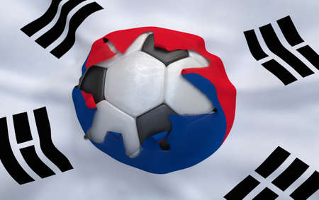Flag of South Korea and soccer ball, hole in flag photo