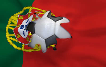 multi national: Flag of Portugal and soccer ball, hole in flag