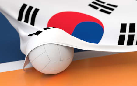 Flag of South Korea with championship volleyball ball on volleyball court photo