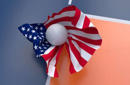 pelota de voleibol: Bandera de EE.UU. con la pelota de voleibol del campeonato en la cancha de voleibol