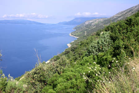 croatian: Croatian shore with blue water and sky