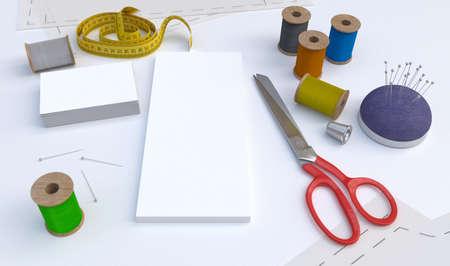 sewing tools: Sewing tools, Tailor kit, mockup Stock Photo