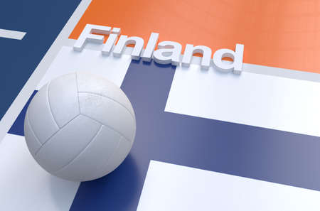 multi national: Flag of Finland with championship volleyball ball on volleyball court
