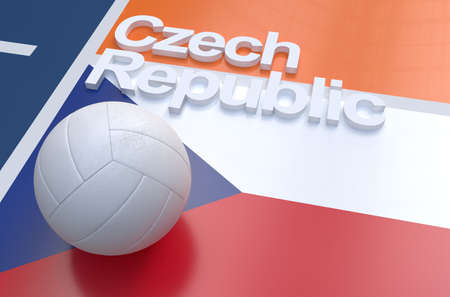 multi national: Flag of Czech Republic with championship volleyball ball on volleyball court Stock Photo