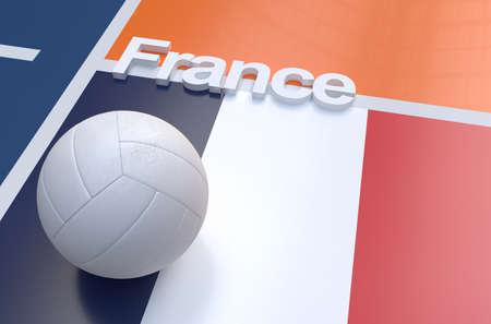 voleibol: Bandera de Francia con el balón de voleibol del campeonato en la cancha de voleibol