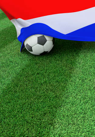 nederland: Soccer ball and national flag of Nederland lies on the green grass