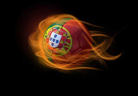 football team: Soccer ball with the national flag of Portugal on fire