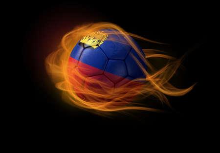 lichtenstein: Soccer ball with the national flag of Lichtenstein on fire Stock Photo