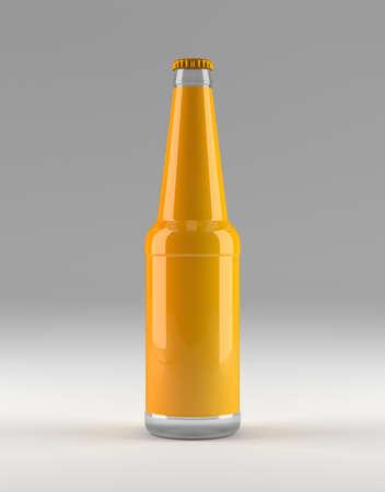 Clean bottle beer, soda, juice, lemonade bottle mockup, 3D illustration