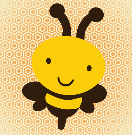 illustration of a cute bee over a honeycomb, background Illustration