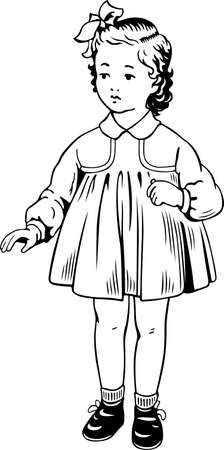 neckband: Little girl wearing warm dress socks shoes  Illustration