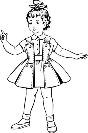 bowknot: Little girl wearing summer dress socks slippers and with a bowknot of ribbon  Illustration