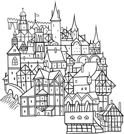 settlement: Medieval town on white background