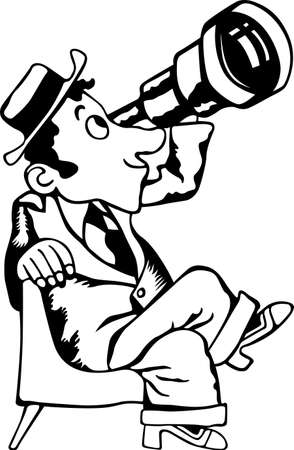shocked man: Man looking through telescope  Illustration
