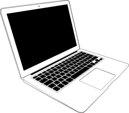 computers network: White notebook computer isolated