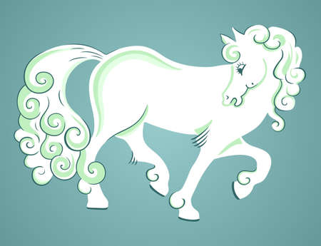 Fantasy horse on blue background Stock Vector - 10298393