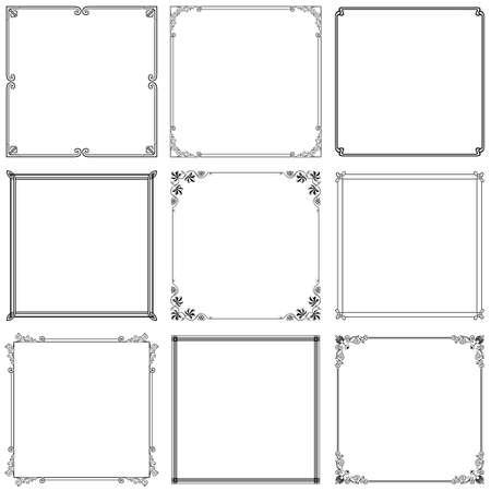 hoekversiering: Het verzamelen van zwarte sierlijke frames op witte Stock Illustratie