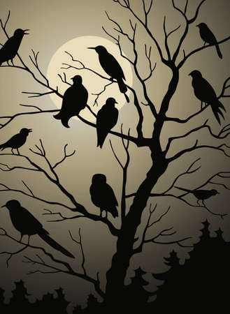 Birds on the tree in the night forest Vector