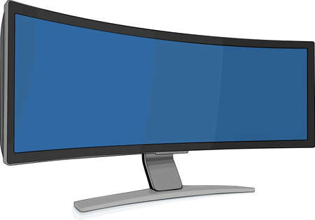 Extra wide gaming monitor on white Stock Vector - 10304178