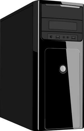 Jednostka systemowa komputera na białym
