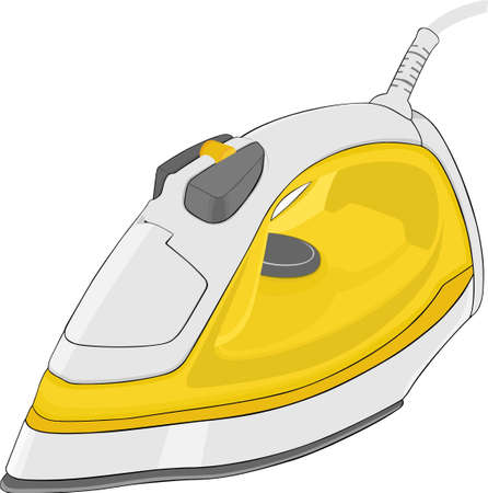 Plancha de vapor eléctrico amarillo aislada sobre fondo blanco
