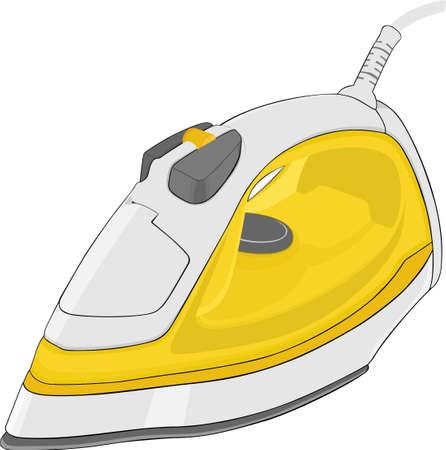 electrical appliance:  Plancha de vapor el�ctrico amarillo aislada sobre fondo blanco