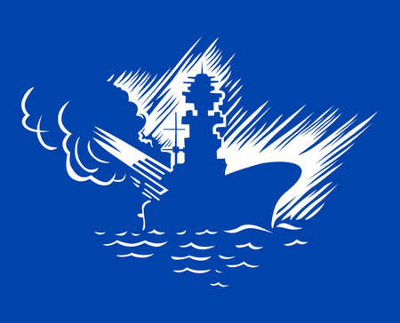 a battleship:  Warship on sea on blue background