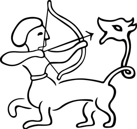 bowman: Centaur aiming at his tail on white Illustration