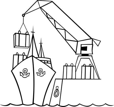 Schip onder inscheping in de haven Vector Illustratie