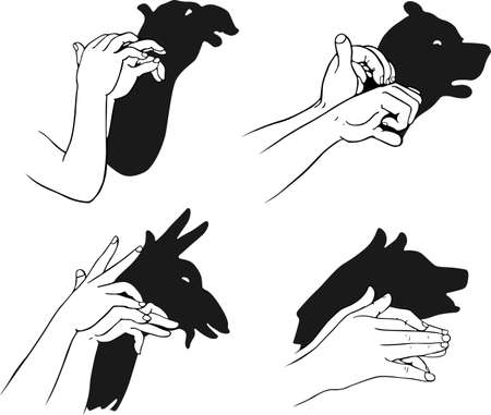 shadowgraph: Figures for a shadow play on white  Illustration