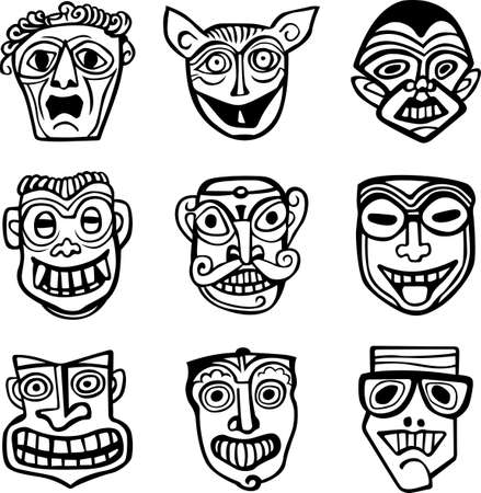 masked ball: Theatrical masks on white