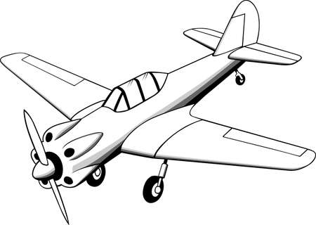Little old plane on white  Vector